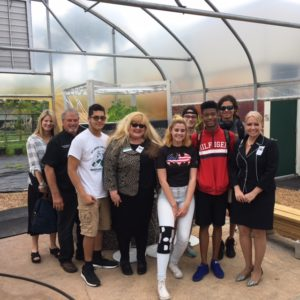 President Kristi Mollis and Vice President Caroline King meet with Professor Newman and the McGarther High School students to review the AquaGrove system in Hollywood, Florida.